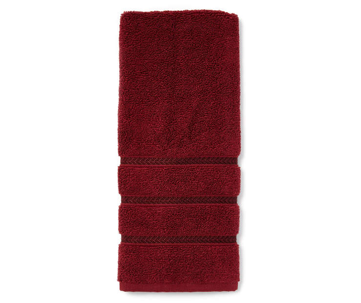 Hotel Cabernet Red Hand Towel Folded Overhead View Silo Image