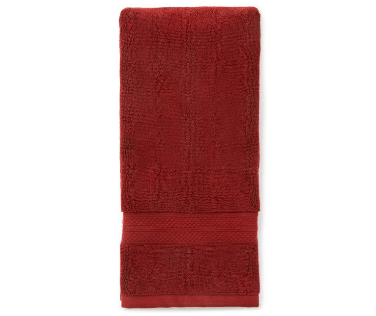 Hotel Cabernet Red Hand Towel Silo Image Overhead View