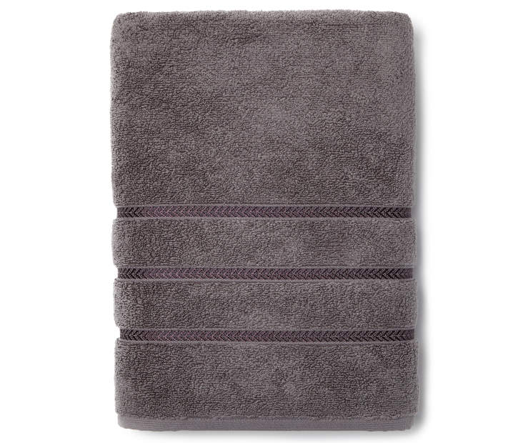 Hotel Charcoal Bath Towel Overhead View Folded Silo Image