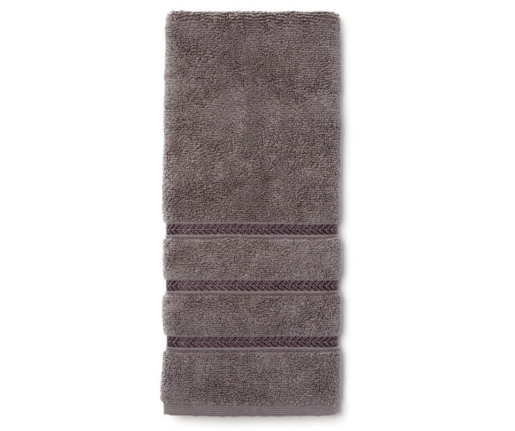 Hotel Charcoal Hand Towel Overhead View Folded Silo Image