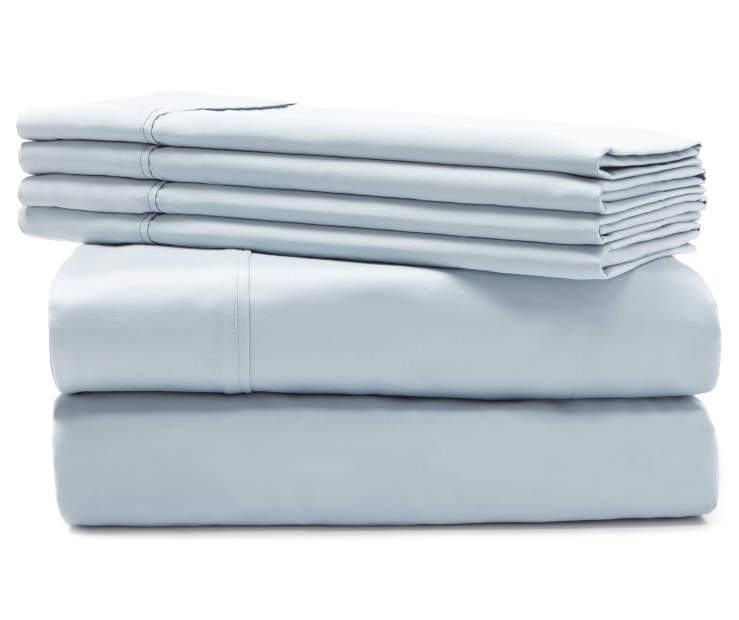 Hotel Cloud Blue 800 Thread Count 6-Piece Queen Sheet Set Silo Stack