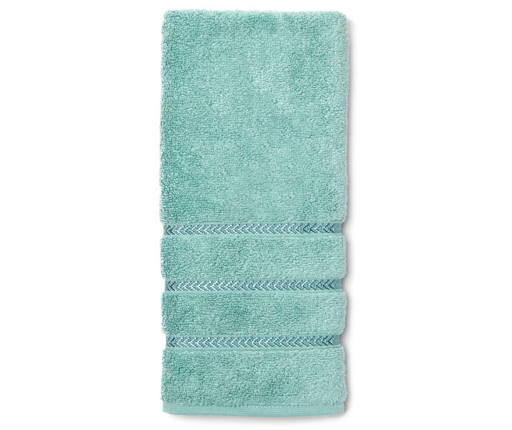 Hotel Dusty Turquoise Hand Towel Overhead View Folded Silo Image