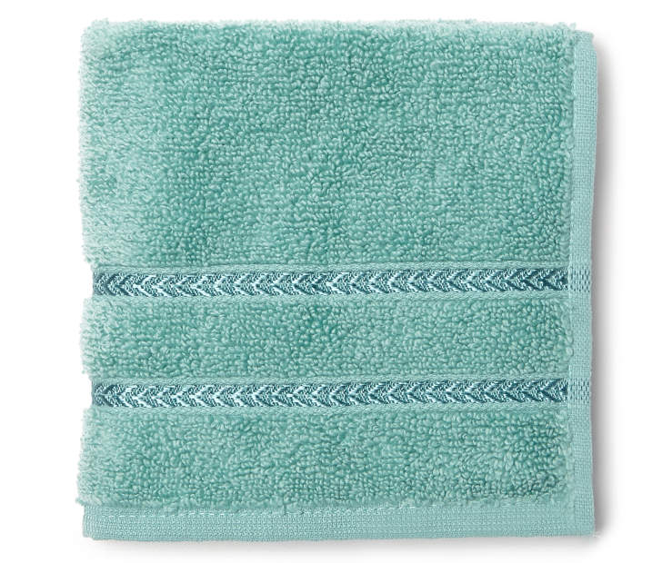 Hotel Dusty Turquoise Wash Cloth Overhead View Folded Silo Image