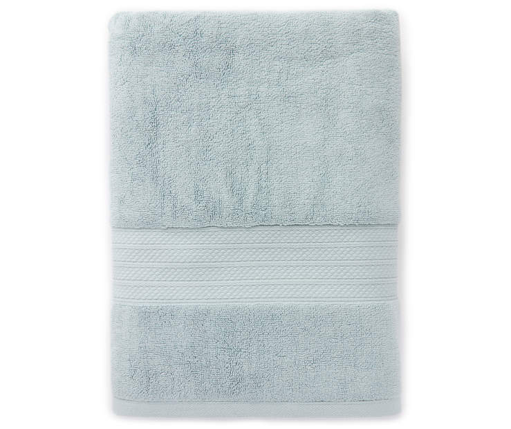 Hotel Ether Blue  Bath Towel Silo Image Overhead View