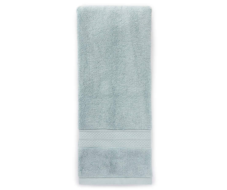 Hotel Ether Blue Hand Towel Silo Image Overhead View