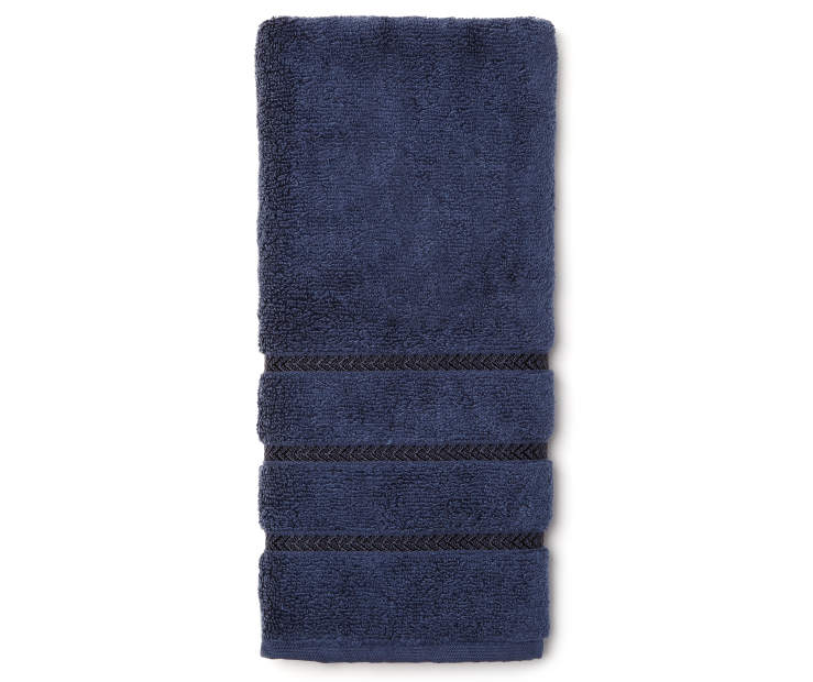 Hotel Ink Blue Hand Towel Overhead View Folded Silo Image