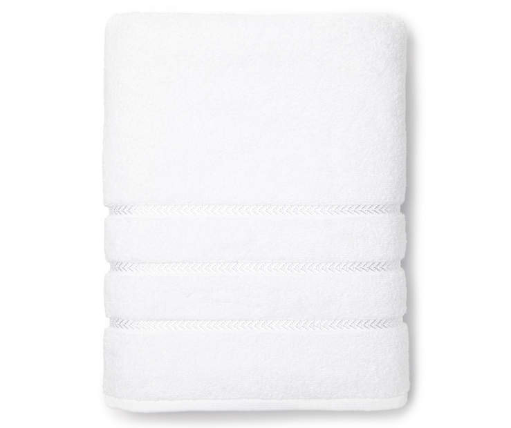 Hotel Optic White Bath Towel Overhead View Folded Silo Image