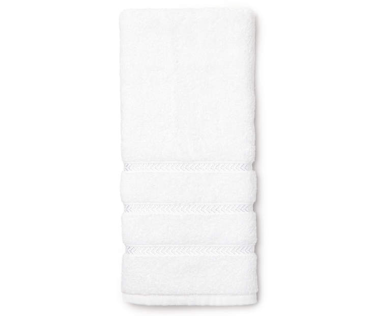 Hotel Optic White Hand Towel Overhead View Folded Silo Image