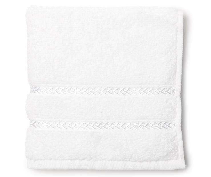 Hotel Optic White Wash Cloth Overhead View Folded Silo Image