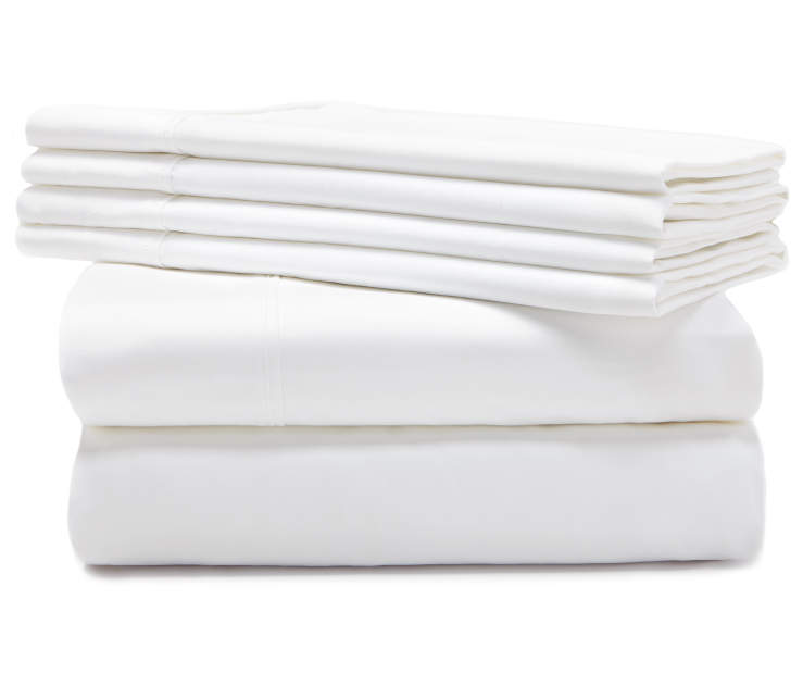 Hotel Pearl White 800 Thread Count 6-Piece Queen Sheet Set Silo Stack