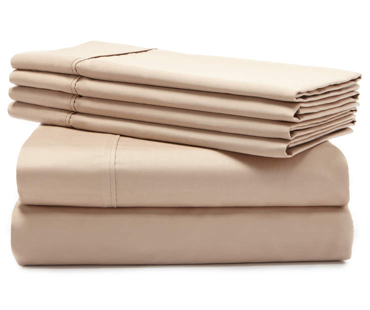 Hotel Taupe 800 Thread Count 6-Piece Queen Sheet Set Silo Stack