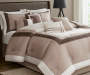 Hotel Taupe Chocolate and Ivory 8 Piece Queen Comforter Set On Bed in Room Lifestyle Image