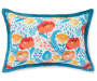 Hummingbird and Floral Reversible Outdoor Lumbar Throw Pillow 13 inch x 20 inch silo front back view