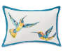 Hummingbird and Floral Reversible Outdoor Lumbar Throw Pillow 13 inch x 20 inch silo front