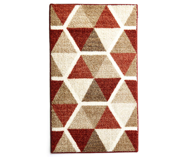 Illusions Red and Brown Accent Rug 1 Feet 8 Inches by 2 Feet 10 Inches Overhead View Silo Image