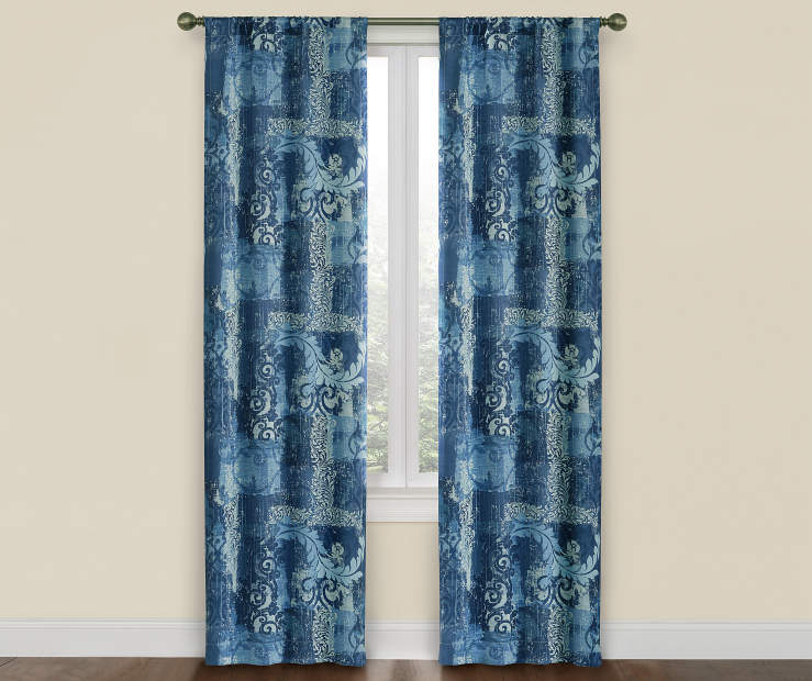 Indigo Blue Colby Room Darkening Curtain Panel Pair 52X84 Window View