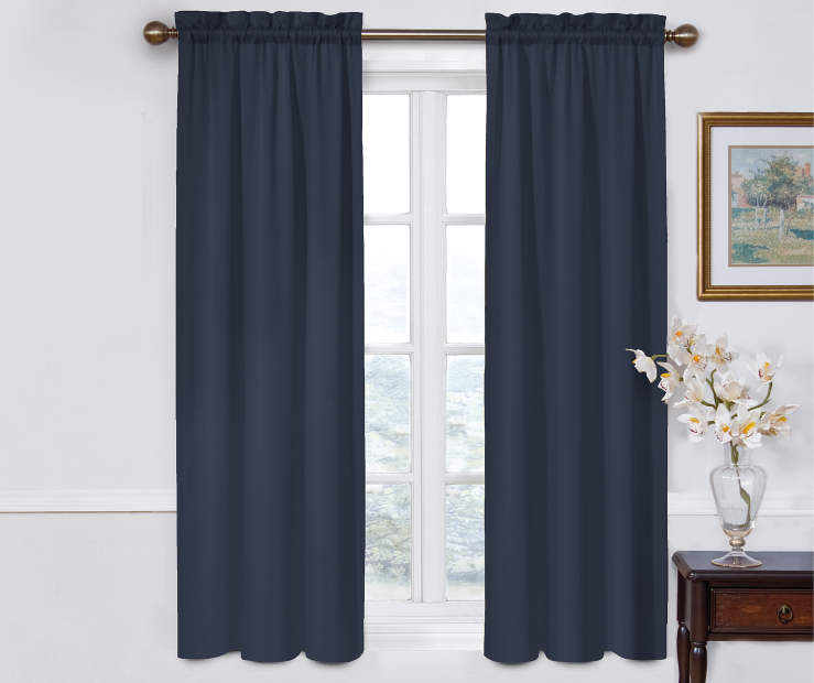 Indigo Blue Room Darkening Curtain Panel Pair 52X63 Window View