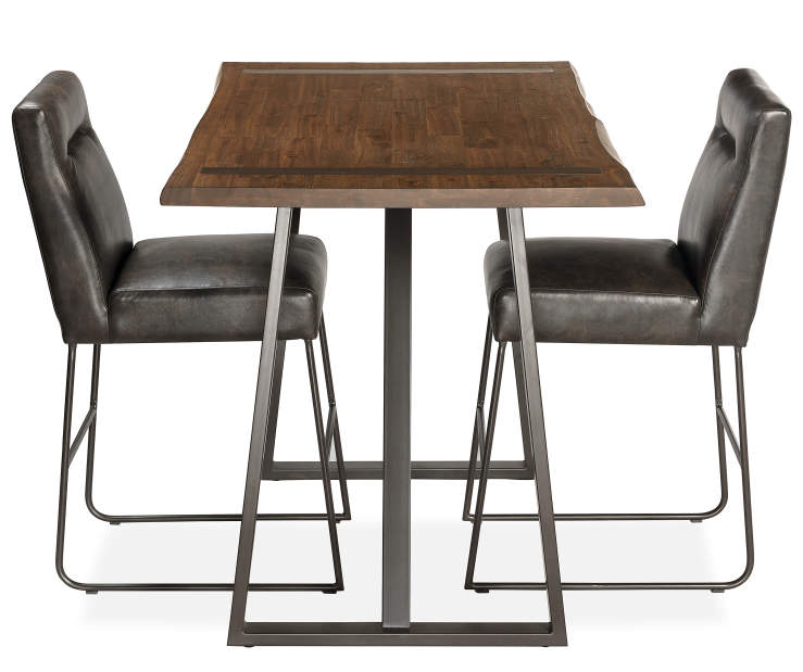 Industrial Live Edge Bar Height Dining Table & Chair Set