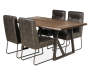 Industrial Live Edge Dining Table silo angled with chairs prop