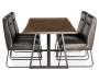 Industrial Live Edge Dining Table silo side view with chair props