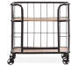 Industrial Wood and Metal Trolley Bar Cart silo front