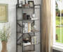 Itzel Oak and Sandy Gray 5 Shelf Bookcase Lifestyle