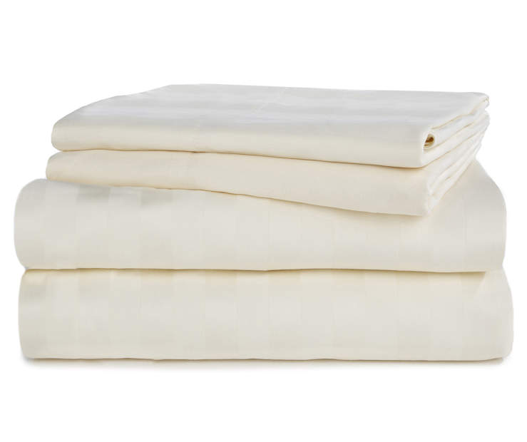Ivory 320 Thread Count 4 Piece Full Sheet Set Stacked and Folded Silo Image