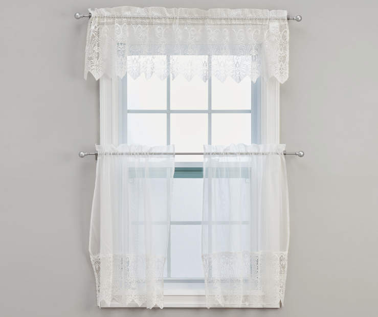Ivory Jane MaCrame Tier Valance Set 60 Inches by 36 Inches on Window Room View