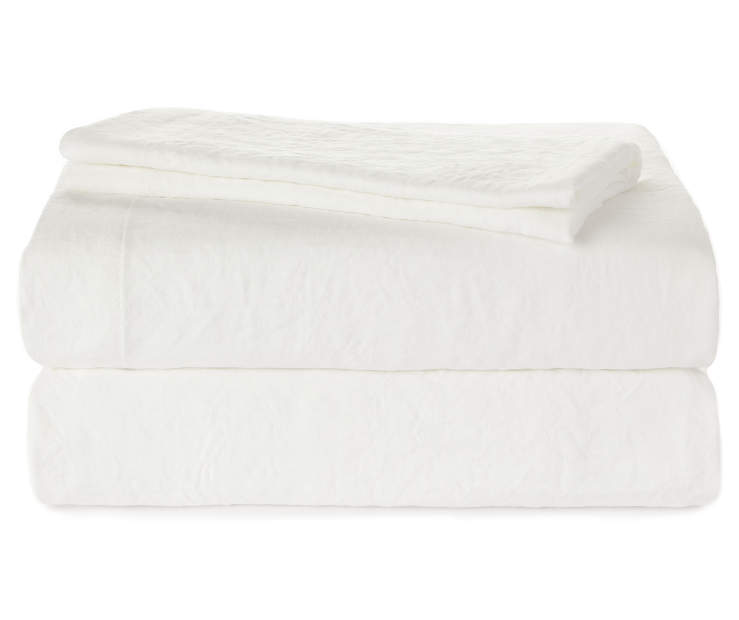 Ivory Queen 4 Piece Microfiber Sheet Set Silo Folded Stacked