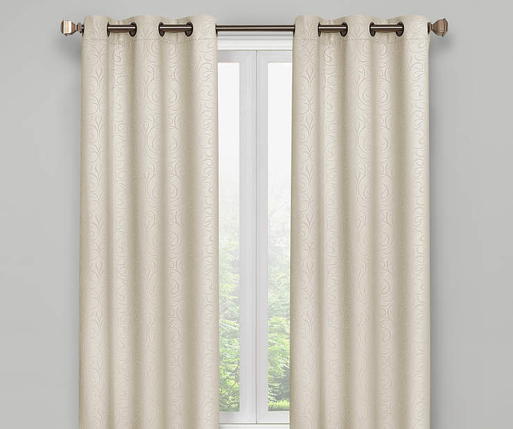 Ivory Scroll Blackout Curtain Panel Pair 63 Inches On Window Room Environment Lifestyle Image