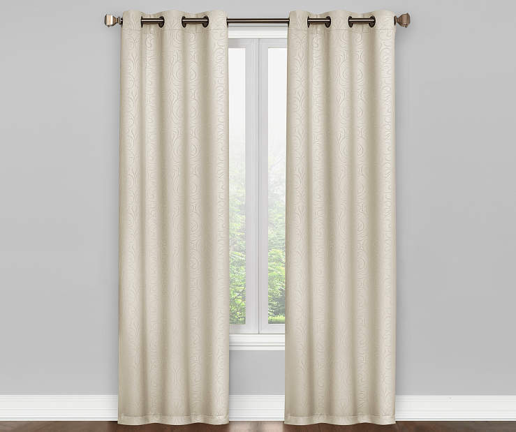 Ivory Scroll Blackout Curtain Panel Pair 84 Inches On Window Room Environment Lifestyle Image