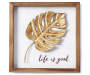 JE FRAMED METAL PLAQUE PALM LEAF 10x10