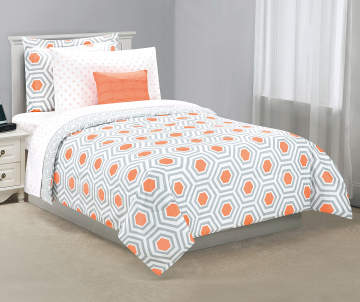 fe0a8f667f Just Home Gray & Coral Geometric Tile Twin Reversible Comforter Set, 6-Piece  Just Home Gray & Coral Geometric Tile Twin Reversible C..