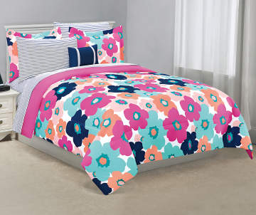 4659e2596b Just Home Navy & Pink Floral Full Reversible Comforter Set, 8-Piece Just  Home Navy & Pink Floral Full Reversible Comforter .