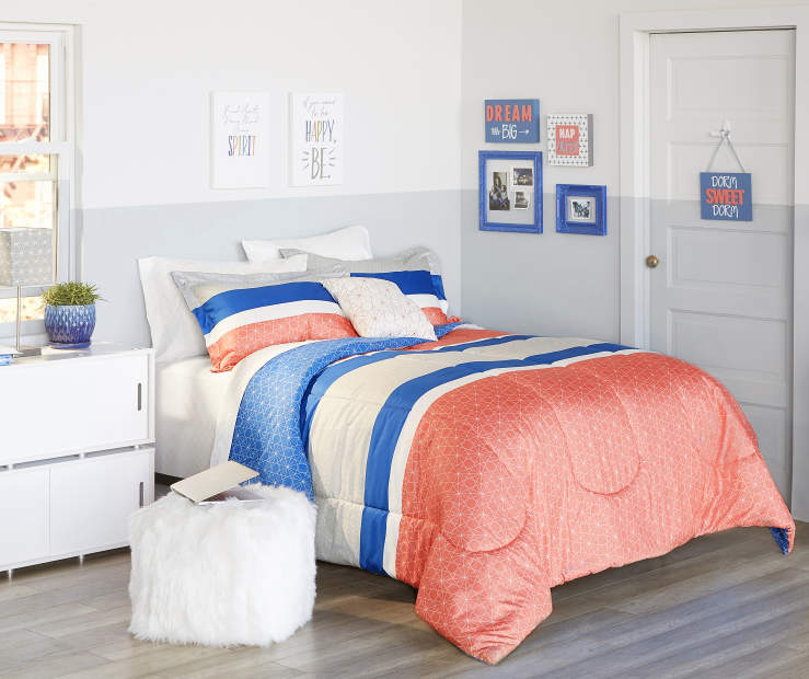 JH 8PC QN BIAB JAMIE STRIPE CORAL/BLUE
