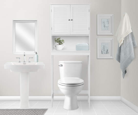 Just Home White Shuttered Door Over The Toilet Space Saver Big Lots