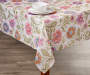 Jacobean Floral Fabric Tablecloth 60 Inches by 102 Inches On Table with Props Lifestyle Image