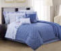 Jaida Leaf Blue and White 12 Piece King Comforter Set bedroom setting