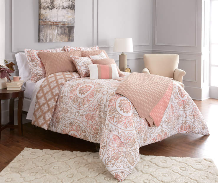 Jaiden Coral and Taupe Comforter and Quilt 10-Piece Set Room Setting 1