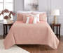 Jaiden Coral and Taupe Comforter and Quilt 10-Piece Set Room Setting 4