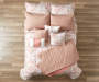 Jaiden Coral and Taupe Comforter and Quilt 10-Piece Set View From Top
