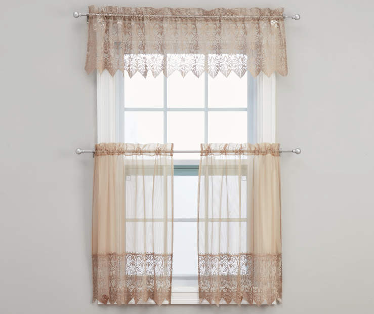 Jane Gold Tier and Valance Set On Window