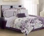 Janet Floral Purple Cream and Lilac King 12 Piece Full Comforter Set On Bed Room Environment Lifestyle Image