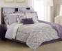 Janet Floral Purple Gray and Cream 12-Piece Queen Comforter Set Lifestyle Image Reverse Comforter