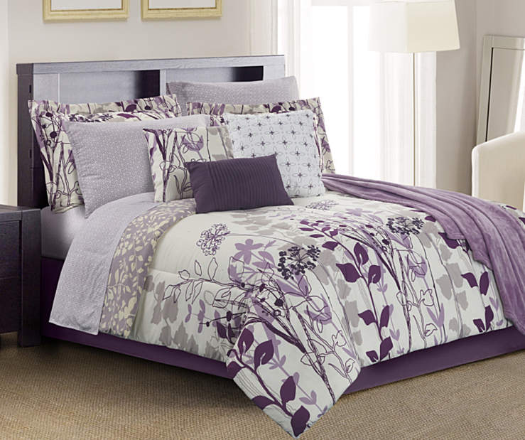 Janet Floral Purple Gray and Cream 12-Piece Queen Comforter Set Lifestyle Image