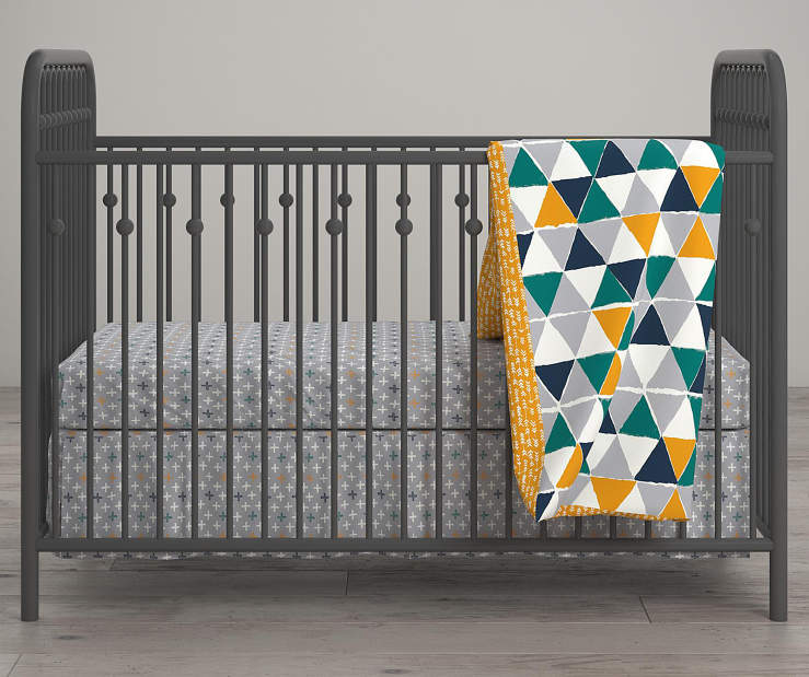 Jax Teal and Yellow Triangle Crib and Toddler 4 Piece Bedding Set lifestyle
