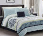 Jessie Blue 5 Piece Queen Quilt Set On Bed In Room Lifestyle Image