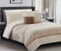 Jessie Natural and Gray 5 Piece Queen Quilt Set On Bed In Room