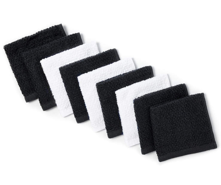 Jet Black and White Wash Cloths 9 Pack silo front