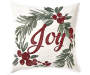 Joy Wreath Cream Throw Pillow 18 inch x 18 inch silo front